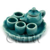 Dolls House Handmade Aquamarine Ceramic Tea Set