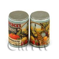 Dolls House Miniature Peacocks Raspberry Jam Can (1890s)