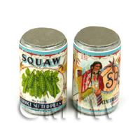 Dolls House Miniature Squaw Choice Sifted Pea Brand Can (1920s)