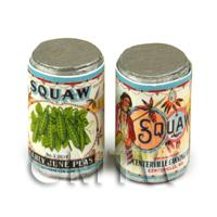 Dolls House Miniature Squaw Early June Peas Brand Can (1920s)