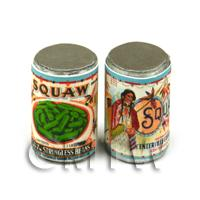 Dolls House Miniature Squaw Brand Stringless Beans Can (1920s)