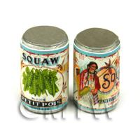 Dolls House Miniature Squaw Brand Petit Pois Can (1920s)