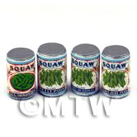 Set Of 4 Assorted Dolls House Miniature Squaw Brand Cans (1920s)