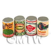 Dolls House Miniature - Set Of 4 Assorted Dolls House Miniature Native American Theme Cans