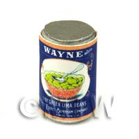 Dolls House Miniature Wayne Green Lima Beans Can (1930s)