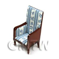 Dolls House Miniature - Dolls House Miniature Blue Patterned Material Dark Wood Chair