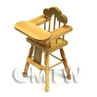 Dolls House Miniature Childrens Pine High Chair