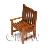 Dolls House Miniature Solid Wood Slatted Garden Chair