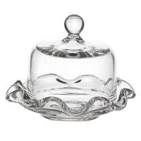 Dolls House Miniature Handmade Glass Cake Stand with Rounded Lid