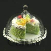Miniature Glass Cake Stand (A) and Cut Cake (SSG6) set