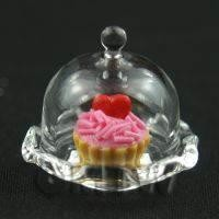 Miniature Tiny Glass Cake Stand (D) & Valentine Tart set