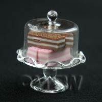 Miniature Handmade Glass Cake Stand (E) and 4 Wafers set