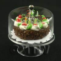 Miniature Glass Cake Stand (H) and Birthday Cake set