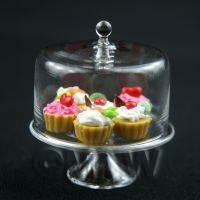 Miniature Glass Cake Stand (I) and 6 Assorted Tarts Set