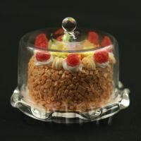 Miniature Glass Cake Stand (K) and Strawberry Cake set