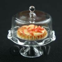 Miniature Glass Cake Stand (N) and Open Cherry Tart set