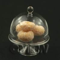 Miniature Glass Cake Stand (Q) and 4 Sugared Donuts set