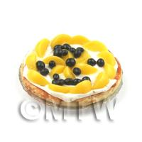 Dolls House Miniature Peach And Blackcurrant Cream Filled Tart