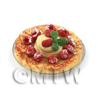Dolls House Miniature Raspberry And Clotted Cream Topped Tart