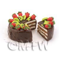 Dolls House Miniature Chocolate Kiwi Cake