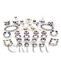 Dolls House Miniature 45 Piece Blue Check Dinner Service