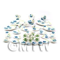 Dolls House Miniature 45 Piece Blue Flower Dinner Service