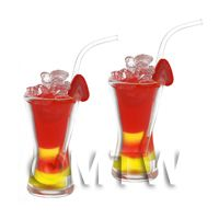 2 Miniature Shanghai Punch Cocktails with Strawberry Slices