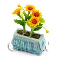 Dolls House Miniature Sunflowers in a Blue Flower Box