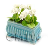 White  Dolls House Miniature  Geraniums in a Blue Flower Box