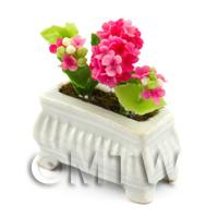 Pink Dolls House Miniature  Verbenas in a White Flower Pot