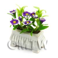 Purple And White  Dolls House Miniature  Flowers in a White Flower Pot