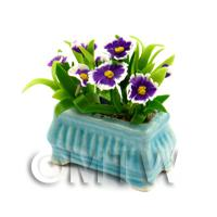 Purple Dolls House Miniature Pansies in a Blue Flower Pot