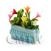 Dolls House Miniature Mixed Flowers in a Blue Flower Pot