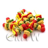 Dolls House Miniature Chicken, Pepper And Tomato Skewer