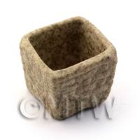Dolls House Miniature Square Stoneware Textured Planter