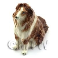 Dolls House Miniature Sitting Collie Style 2