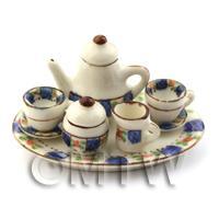 Dolls House Miniature Large 6 Piece Oval Blue/White Tea Set