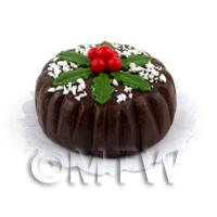 1/12th scale - Dolls House Miniature Chocolate Christmas Cake With Berries and Hol