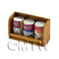 Dolls house Miniature Teak Shelf & Cans (TS1)