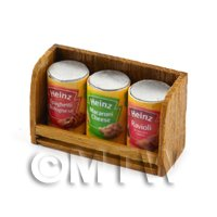 Dolls House Miniature Teak Shelf & Cans (TS2)
