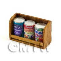 Dolls House MiniatureTeak Shelf & Cans (TS4)