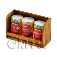 Dolls House Miniature Teak Shelf & Cans (TS6)