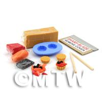 Dolls House Miniature Strawberry and Peach Tart Kit With Silicone Mould