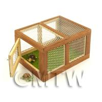 Miniature Wooden Animal Hutch With Front Opening Door And Two Tortoises