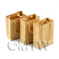 Dolls House Miniature Set of 3 Handmade Brown Paper Bags