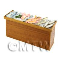 Dolls House Fully Stocked Teak Wood Fish Counter Style 1