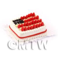 Dolls House Miniature Stars Stripes Cake
