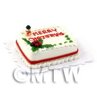 Dolls House Miniature Merry Christmas Cake