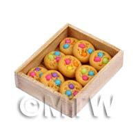 Dolls House Miniature Baked Cookies In a Wooden Bakers Tray