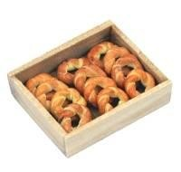 Dolls House Miniature Pastry Rings In A Wooden Bakers Tray